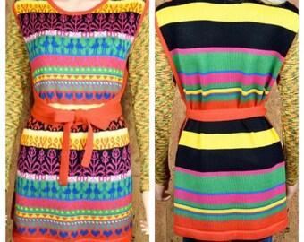 Vintage 1970's Women's Heart Novelty Striped HiPPiE Knit Sweater Tunic Wrap Vest Size M