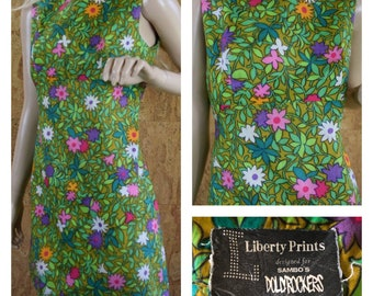 Vintage 1960's Sambo's Dolly Rockers MOD Carnaby St. British Invasion Era Go-Go Flower Patterned Hippie Cotton Micro Mini Dress Size XS