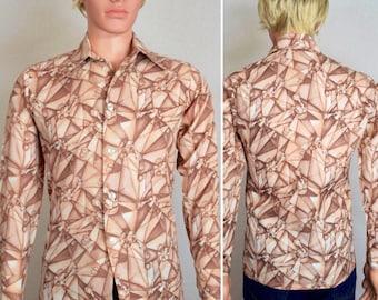 Vintage 1970's Men's Disco Mod Hippie Rock Star Shirt size S