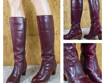 Sz 6.5 M - Vintage 1970's Women's DEXTER Ox Blood Red Leather Hippie Boho Campus Tall Boots Stacked Wooden Heels Size 6.5  6 1/2 M