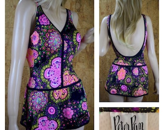 Vintage 1960's PETER PAN Psychedelic MOD Neon Flower Hippie Swimsuit One Piece Skirted Size 12 S/M