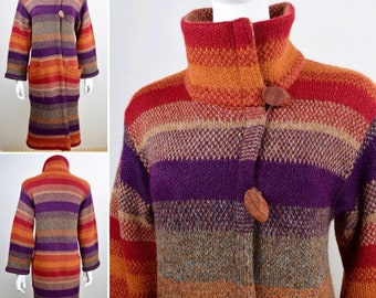 Vintage 1980's MISSONI Neiman Marcus / OraNge LaBeL /MulTiCoLoR Stripe Knit Mohair Alpaca Long Sweater Coat Duster S M