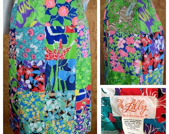 NWT Vintage 1970's The Lilly Pulitzer Patchwork Beach Summer Zoo Tropical Animal Seashell Giraffe Turtle Parrot Butterfly Skirt Size 6 XS