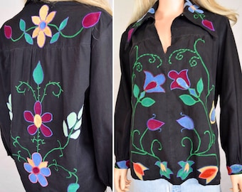Vintage 1960's Women's Embroidered Appliqued Jimi Hendrix Style Velvet Flower HiPPiE BoHo WooDsToCk Shirt Tunic Top M