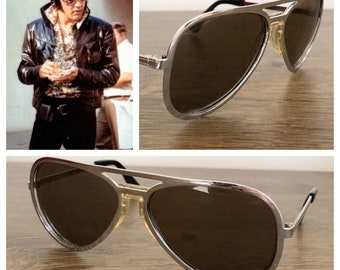 Vintage 1970's Men's Chrome Made in ITALY Aviator Movie Rock Star Sunglasses - ELVIS - Very Rare