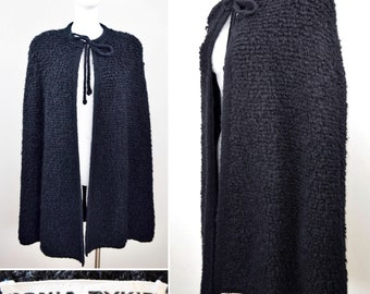 Vintage 1980's Couture Designer SONIA RYKIEL Black Chunky Knit Cape Angora Lambswool Soft Sweater Coat 40 9 M