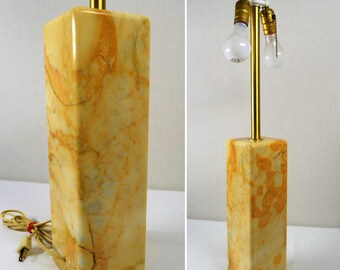 "Vintage MCM 1960's Walter Von Nessen Studios Giallo Siena Marble Brass 31"" Table Lamp"
