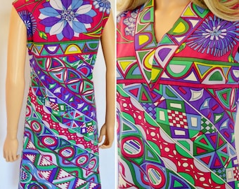 SALE - Vintage 1960's EMILIO PUCCI MoD PsYcHeDeLiC Op ArT OpTiC FLoWeR  Couture Dress M 12 - Museum Quality Flawless
