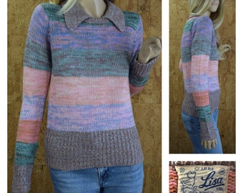 Vintage 1970's Women's Multi-colored Pastel Space Dyed Striped Colorful Hippie Boho Disco Sweater Size M