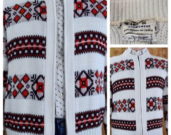 Vintage 1950's SEARS Men's MOD Nordic Snowflake Fair Isle  Hipster Knit Zippered Cardigan Sweater Size S