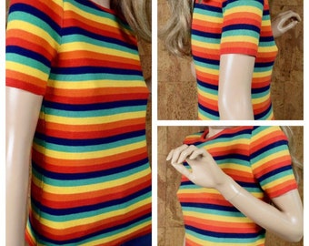 Vintage 1960's 70's Women's Rainbow Striped Cotton Knit HiPPiE MOD Sweater Shirt Top Size S