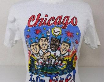 Vintage 1980's 50/50 Chicago Is On Fire Cubs #1 Sandberg Grace Dawson Williams Baseball T - Shirt World Series 2016 champions