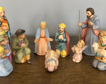 Vintage 1960's Mid Century Porcelain Hand Painted Figurine 9 piece set - CHRISTMAS Holiday Nativity Scene  - Made in Japan