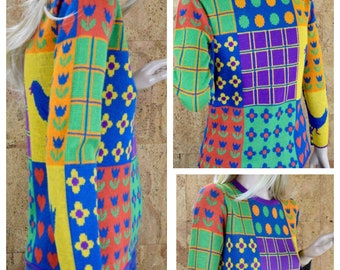 Vintage 1970's Women's whimsical Patchwork PoP ArT Heart Polka Dot Bird Novelty Color Blocked HiPPiE MOD Sweater Size S / M