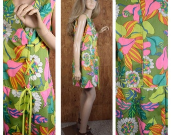 Vintage 1960's 70's Women's Neon Psychedelic Hawaiian Beach Pool Cabana Laced Romper Jumper Jumpsuit Shorts Mini Dress Size L