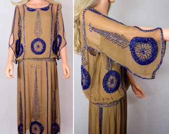 Vintage 1920's Art Deco CHICAGO Silk Chiffon Hand Beaded Speakeasy Flapper Dress