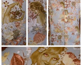 Vintage 1970's ALBERTO VARGAS GirLs PLAYBOY Magazine Pin Up Men's DiScO HiPPiE Shirt S 41 - Vargas Floral Collage Motif