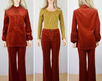 Vintage 1960's Women's Patty Woodward  Velvet Velour Hippie Laced Shirt & Bell Bottom Pants 2 pc. Outfit Size M
