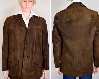 Vintage 1970's Men's SEARS Nubuck Suede Leather - warm zip lining - HiPPiE HiPsTeR Car Coat Jacket Size 40 R