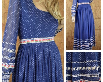 Vintage 1960's | 70's CARLYE Blue Polka Dot Embroidered Flower Ribbon Hippie Boho Party Dress Size S M