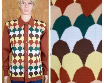 Vintage 1960's DaVinci ReTro ULtrA MOD Knit Shirt Hipster AtOmiC ErA Size L / XL 46 48 - Rare & Hard to Find