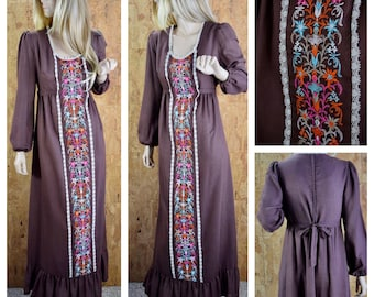 Vintage 1970's Women's Rag Dolls San Francisco Embroidered Tie Back Hippie Boho Cotton Prairie Maxi Dress Size M