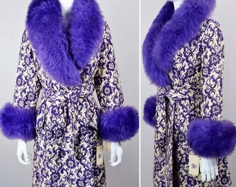 Nos Vintage 1960's Carpet TaPeStrY Purple SHEARLING TriMMeD HiPPiE BoHo GLaM Coat Size M