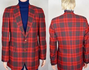 Vintage 1980's Men's LACOSTE IZOD Red Plaid Golf Holiday Blazer Sport Coat Jacket Size S 40