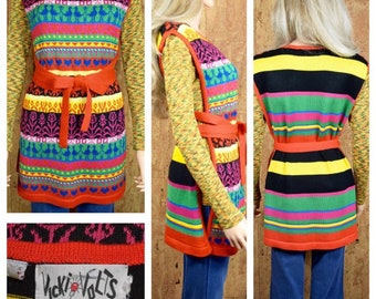 Vintage 1970's Women's Heart Novelty Striped HiPPiE Knit Sweater Tunic Wrap Vest Size M