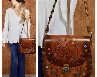 Vintage 1970's LARGE Tooled Leather Butterfly Flower Rainbow Colorful Painted Leather Hippie Boho Woodstock Festival Shoulder Purse Handbag