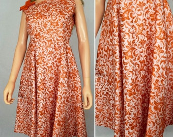 Vintage 1950's Women's Orange Metallic Lame lurex Brocade Floral Embroidered Formal Couture Party Dress Size XS