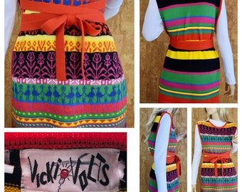 Vintage 1970's Women's Heart Bird Novelty Striped Fair Isle HiPPiE Knit Sweater Tunic Wrap Vest Size S
