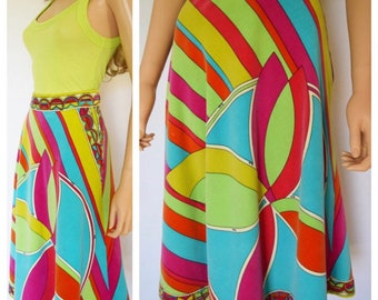 Vintage 1960's 70's EMILIO PUCCI PsYcHeDeLiC VeLveT NeOn OpTiC Couture HiPPIE MoD Skirt Size 14 28W