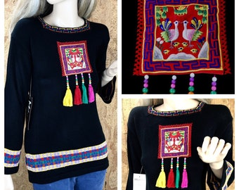 NWT Vintage 1970's Women's ASIAN Metallic Ethnic Bird NEON Beaded Tassels Knit HiPPiE BoHo Tunic Sweater Size M L