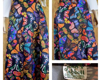 Vintage 1960's John Abbott Psychedelic Colorful Butterfly HiPPiE Boho Maxi Skirt Size M