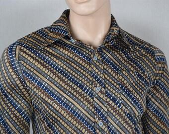 Vintage 1970's Men's Jantzen Striped Pattern Op ArT ReTrO ULtRa MOD DiScO Shirt Size S