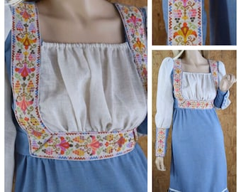 Vintage 1960's | 70's Women's DYANNE of Dallas Edwardian Embroidered Hippie Boho Peasant Prairie Tie Back Mini Dress Size XS