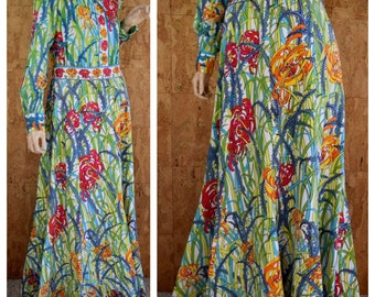 SOLD - Do Not Buy - Reserved to S. - Vintage 1970's EMILIO PUCCI Cotton Flower Patterned 2 Piece Blouse Maxi Skirt Couture Outfit Dress