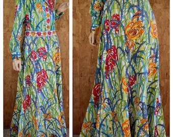 Vintage 1970's EMILIO PUCCI Cotton Flower Patterned 2 Piece Blouse & Mermaid Style Maxi Skirt Couture Outfit Dress M 14