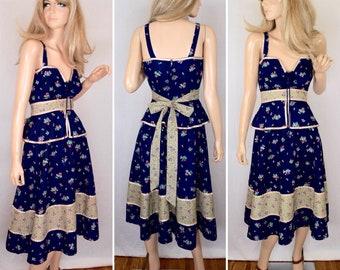 Vintage 1970's Montgomery Ward Women's Laced Peplum Calico Prairie Festival HIPPIE Boho Sun Dress Size S M
