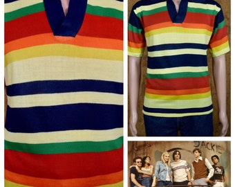 Vintage 1970's SUNDOWNER Men's Multicolored Striped Disco V-neck KELSO That 70s Show Hippie Hipster Knit Fitted Sweater Size M L