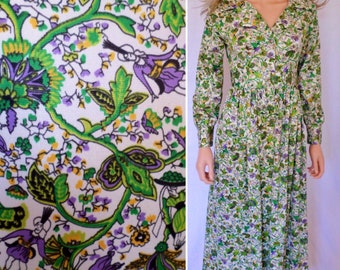 Sale - Vintage 1960's Women's FoLkLoRe ScEniC Edwardian Maxi HiPPiE BoHo Dress Size S