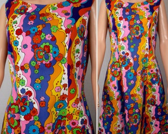 Vintage 1960's John Abbott Women's PsYcHeDeLiC Rainbow Flower Pop Art Go-Go MoD HiPPiE Hawaiian Dress Size M L