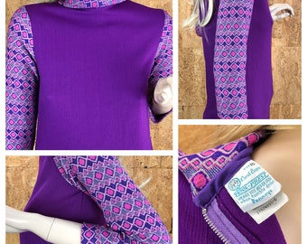 SOLD - Reserved for D. - Do Not Buy - Vintage 1960's Carol Evans Pennys Women's Purple Ultra MOD Beatnik Tunic Shirt Top Blouse Size S