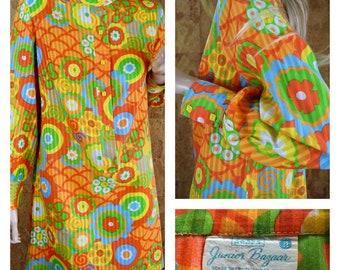 Vintage 1960's   70's Women's Sears Jr. Bazaar MOD Go-Go Flower Power Psychedelic Hippie Festival Woodstock Gauzy Cotton Mini Dress Size M