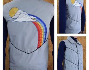 Vintage 1970's | 80's Rainbow Sun Cloud Appliquéd Hippie Hipster Kelso Down Feather Puffer Ski Vest - Men's Size S - Women's M L - Unisex