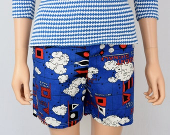 Vintage 1960's Women's Nautical Themed Sailing Boating Novelty Surf Board Beach Swim Shorts Size S M