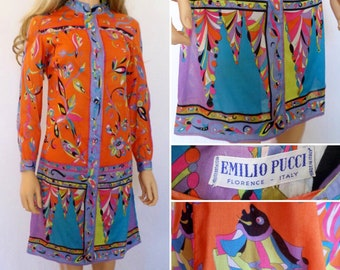 SALE - Vintage 1960's EMILIO PUCCI PsYcHeDeLiC oP aRt OpTiC Fish Flower Cotton Hippie Mod Dress Couture S M