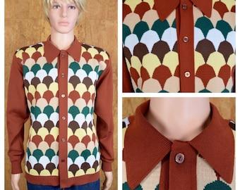 Vintage 1960's | 70's DaVinci Rat Pack Kramer MOD Knit Shirt Hipster Size L / XL 46 48