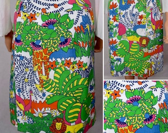 Vintage 1960's  Women's Gordon of Philadelphia AniMaL Elephant Tiger Turtle Novelty HiPPiE Mod PoP ArT Golf Skirt M